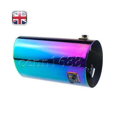 2X 76mm Stainless Steel Car Tail Exhaust Pipe Tip End Trim Muffler Chrome UK