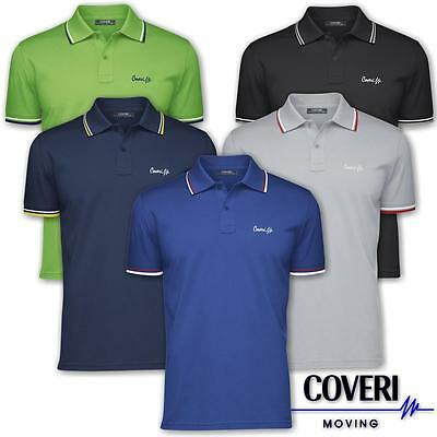 Polo uomo manica corta con profili COVERI MOVING 100% cotone piquet