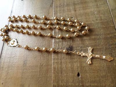 Gold Christian Catholic Rosary Beads Necklace & Crucifix Cross Religious Jewelry