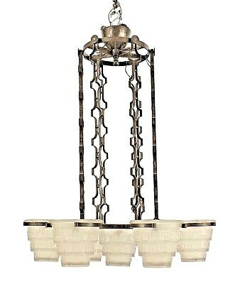 French Art Deco (circa 1930) Wrought Iron Chandelier