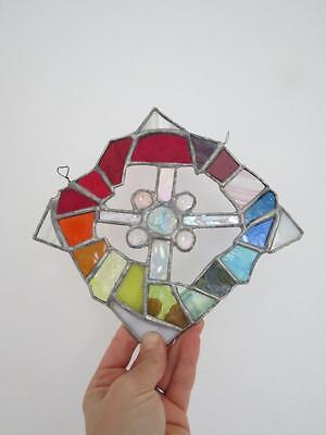 Vintage Stained Glass Window Decoration Scandinavian Artist Made Signed