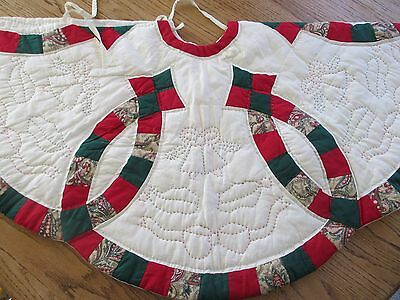 "Vintage Quilted Christmas Tree, HAND QUILTED, 44"", EUC, REVERSIBLE"