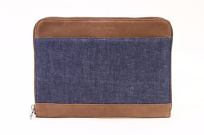NWT$1025 Brunello Cucinelli Men's Leather & Denim 2Tone Logo Portfolio Case A176