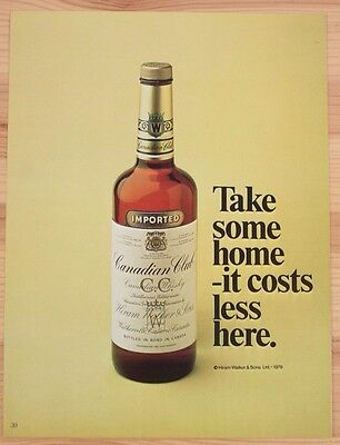 Two Vintage 1980 Print Ads - Canadian Club Whisky and Ralph Lauren Fragrance