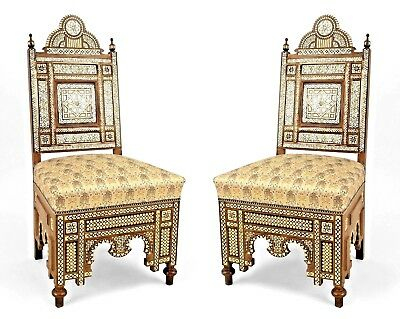 Pair of Middle Eastern Syrian (20th Cent.) Side Chairs