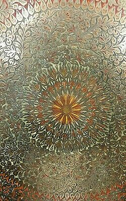 "ANTIQUE LARGE SIZE BRASS, Copper TRAY 45 ""×45"" HAND CARVED & HAND PAINTED ENAMEL"