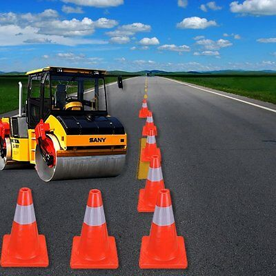 "Top Quality Road Traffic Progen Cones 18"" (490Mm) With Reflective Strip Safety"