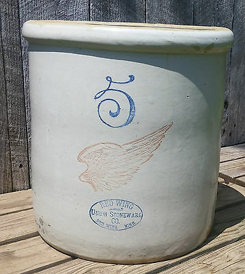 Antique 5 Gallon Red Wing Union Stoneware Crock w/ Big Wing & Ski Oval