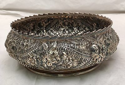 Sterling Silver Repousse Center Bowl / Serving Bowl