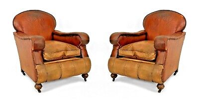 Pair of English Victorian Over-Size Brown Leather Club Chairs
