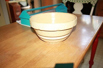 """Vintage 10"""" BOWL RRP Co Robinson Ransbottom Pottery Yellow Ware Brown Band"""