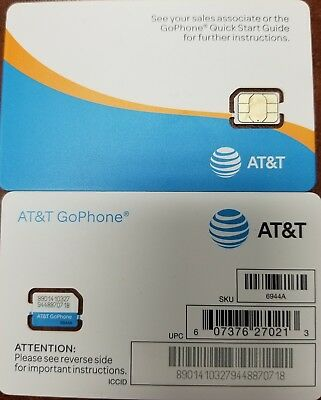 Genuine AT&T OEM Nano Sim Card, supports 4G LTE.  Prepaid Go Phone or Contract