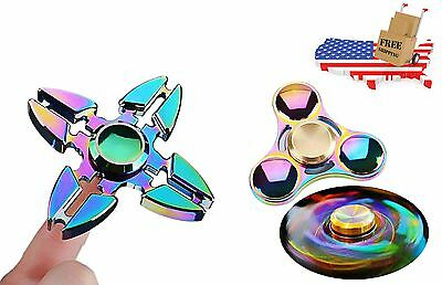 2 Pack - Rainbow Color Titanium Alloy Fidget Spinners - Tri and Quad Spinner