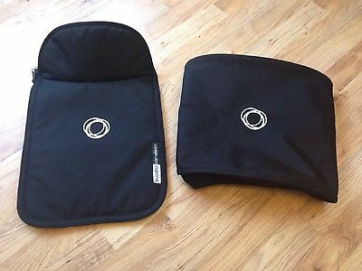 Bugaboo Cameleon Black Canvas Fabric Set Hood And Apron Excellent Condition