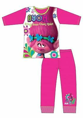 Girls Dreamworks Trolls Movie Bring Your Own Hair Pyjamas Nightwear Age 3-10 Yrs