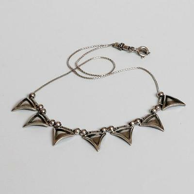 Vintage Sterling Silver Necklace 7 triangular pendants Modernist jewelry.