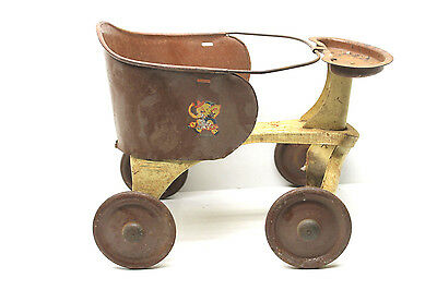 Antique 1920's Turner Pressed Steel Baby Walker 4 Wheel Pram Stroller Carriage