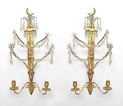 Pair of Continental (Baltic or Russian, early 19th Cent) Two Arm Wall Sconces