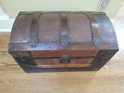 Antique Victorian Era Small Domed Top Embossed Steamer Trunk