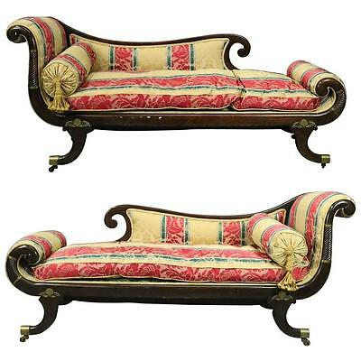 Pair Antique English Regency Carved Mahogany Upholstered Recamier Settees, c1820