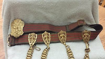 Antique Masonic Knight Templar Belt with Buckle and Sword Chains