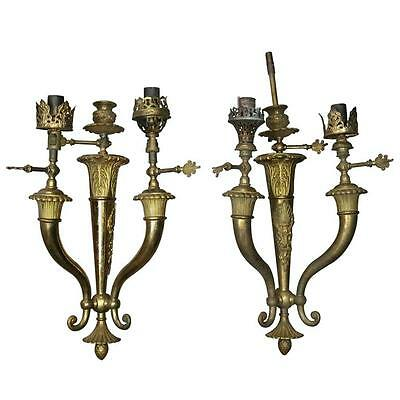 Pair Antique French Neoclassical Style Brass Three-Light Gas Wall Sconces, c1870