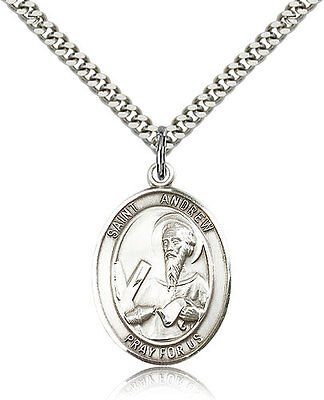 """Saint Andrew The Apostle Medal For Men - .925 Sterling Silver Necklace On 24""""..."""