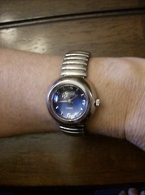 Coca~Cola Woman's Wrist Watch Blue Face Thick Convex Crystal