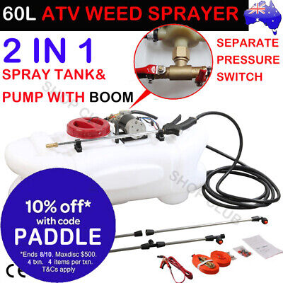 60L ATV Garden Weed Sprayer 12V Pump Tank Chemical Spray Farm Boom Spot Wand