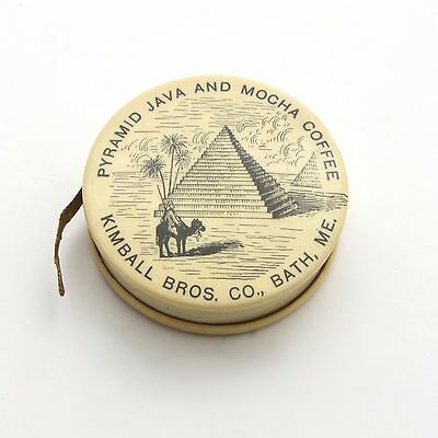 Vintage Celluloid Advertising Sewing Tape Measure Pyramid Java and Mocha Coffee