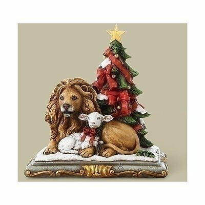 Josephs Studio Joseph Studio Lion and Lamb with Christmas Tree Figurine