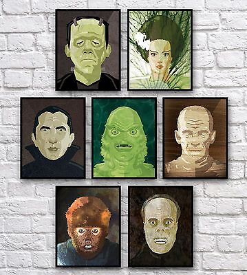 "Monsters Frankenstein Dracula Wolfman Mummy 7 Prints 8x10"" Signed by Artist"