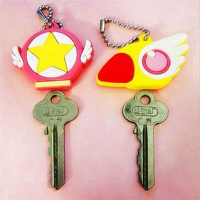 2pcs Card Captor Sakura KeyChain the Clow Figure Cosplay Magic Pendant Keyring