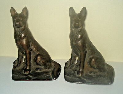 Vintage Cast Iron German Shepherd Book Ends With Bronze Tone Finish Metal Dog