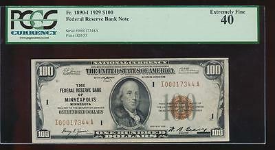 AC 1929 $100 FRBN Minneapolis PCGS 40 Fr 1890-I