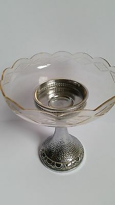 Antique BELDRAY MADE IN ENGLAND Crystal Lolly Holder with Silver Holder Bowl