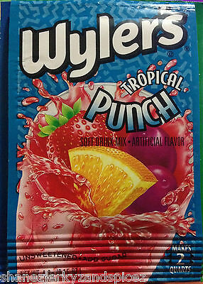 6x  WYLERS pkts SOFT DRINK MIX unsweetened fruit drink cherry punch Shanez