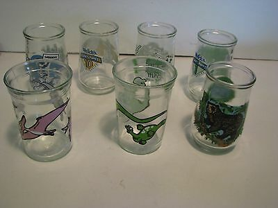 Lot Of 7 Welsh's  Jelly Jars/glasses  Turner  4 Inch Ass Yrs  Dino  Road Marvin
