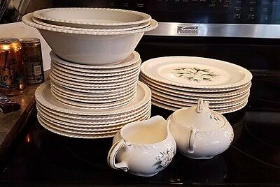 Harker Royal Gadroon Magnolia Dinnerware Complete 8 Place Settings -  55 pieces