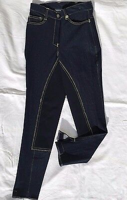 Men's Riding Breeches Navy Stretchy Denim Full Leather Seat Velcro Closure Ankle