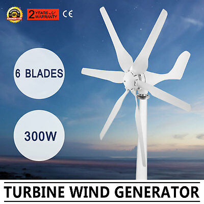 300W Wind Turbine Generator 6 Blads DC/12V Charger Controller Clean Energy