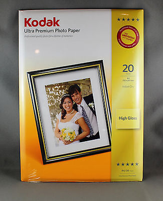 "KODAK ULTRA PREMIUM PHOTO PAPER (20 SHEETS) A4 ""210 x 297mm"" 280gsm HIGH GLOSS"
