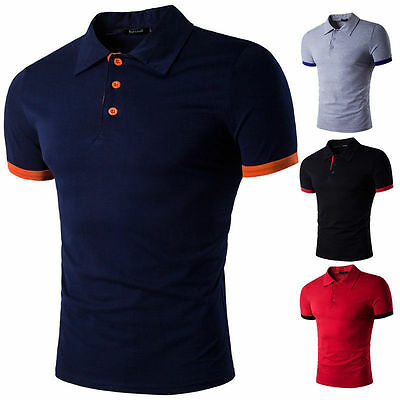 Luxury Mens Casual Stylish Slim Fit T-shirt Short Sleeve Polo Shirts Tee Tops f