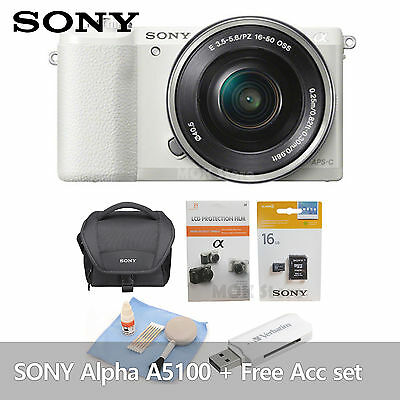 Sony Alpha A5100 Mirrorless Camera w/16-50mm Lens, White Free Acc [No Battery]