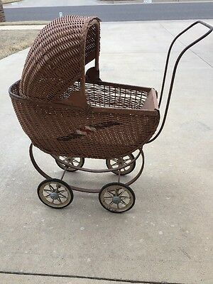 Vintage South Bend Toy Doll Carriage Stroller Wicker For restoration Or Decor