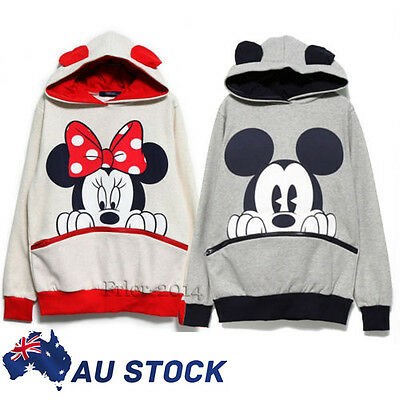 Women Ladies Mickey Mouse Hoodies Pockets Loose T-shirt Jumper Pullover Tops