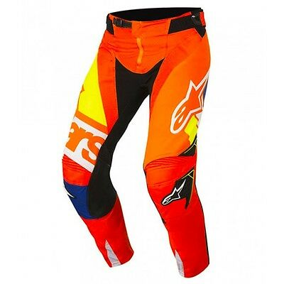 Alpinestars 18 Techstar Factory MX Pants Fluro Orange Blue Off Road Dirt Bike