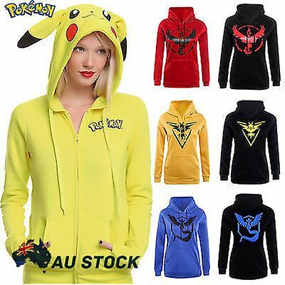 Pokemon Go Pikachu Womens Hoodie Sweatshirt Costume Hooded Coat Jacket Hoodies