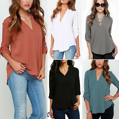 Womens V-neck Tops Loose Long Sleeve T-Shirt Casual Blouse Chiffon Summer Shirts