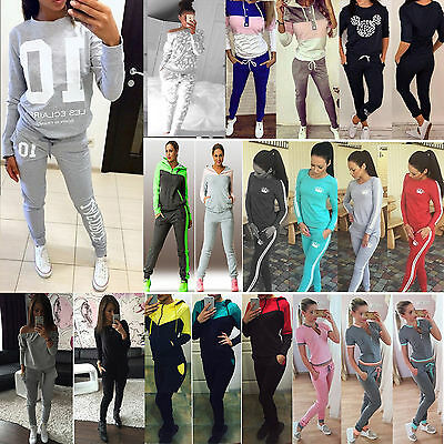 2017 Womens 2Pcs Casual Sports Wear Sweatshirt Track Pants Sweat Suits Tracksuit